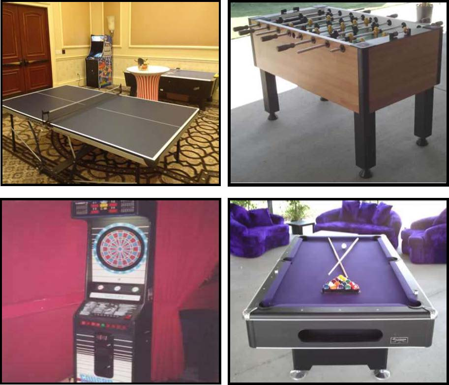 traditional games like foozball, ping pong, darts, pool party rentals