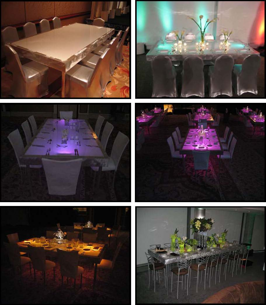 ILLUMINATED LEDs Dinner Tables 4 ft. x 8 ft.