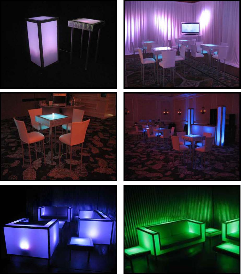 ILLUMINATED LED tables 2 ft. x 2 ft.