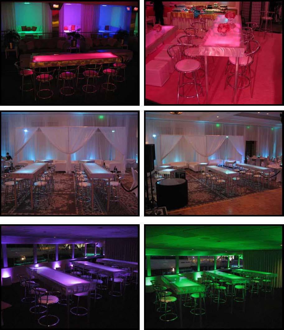 ILLUMINATED LED tables 2 ft. x 8 ft.– Bar Height